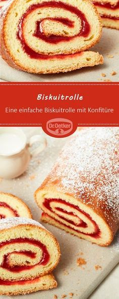 Biskuitrolle: Eine einfache Biskuitrolle mit Konfitüre #Erdbeerkonfituere #kuchenmitkonfituere #kaffeetafel
