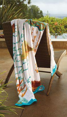 Seaside Watercolor Pool Towels.