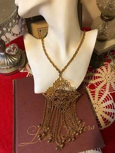 1ef48640bb5fe Vintage 60s Stunning MOD Bold Gold tone Pendant Dangle Boho Modernist Long  Statement Necklace Holiday Gift