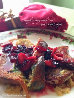 The Urban Domestic Diva: Overnight Eggnog French Toast with Cherry Compote, I used some colored holiday bread and left over eggnog. Make ahead the french toast and the cherry apple topping. Easy peasy. Prep it tomorrow and it'll be a great start to your New Year!