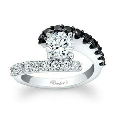 Engagement Ring Setting .88 carat black and white diamond setting barkev's Jewelry Rings