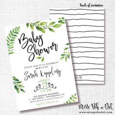Greenery Shower Invitation Printable Nautral Invite Baby