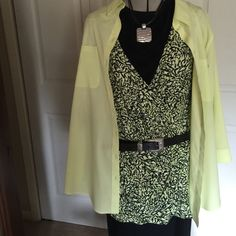 Dana Buchman draped blouse. This is almost new, in fact unless stated, my closet items have been worn maybe once. This is a beautiful blouse, black with a lime yellow mix. It drapes beautifully, you will want it! Dana Buchman Tops Blouses