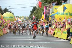 Taylor Phinney (BMC Racing) wins Stage 4 solo ahead of a charging peloton in Katowice.