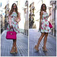 Mira que combinación tan #primaveral nos trae Likeprincessbykuka BLOG! Dándole el toque perfecto con unas cuñas de #Exé #Shoes está preciosa e ideal. #exe #exeshoes #shop #shoponline #blogger