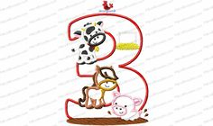 Farm Animal 3rd Birthday Applique Embroidery Design contains pieces from our farm animal category and is optimized to fit this 5x7 configuration.