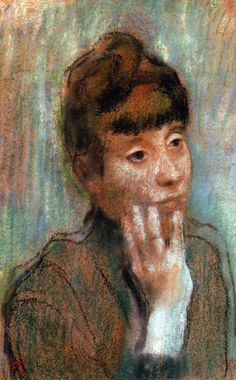 Edgar Degas Portrait of a Woman Wearing a Green Blouse hand painted oil painting reproduction on canvas by artist Edgar Degas, Degas Drawings, Degas Paintings, Monet, Amédéo Modigliani, French Impressionist Painters, Art Ancien, Pastel Portraits, Pierre Auguste Renoir