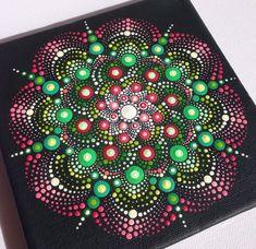 Originele Dotart groen roze Mandala schilderij door CreateAndCherish