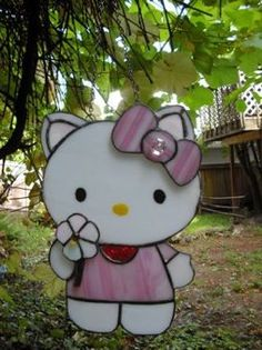 Grandmother's nerdy stained glass #hellokitty