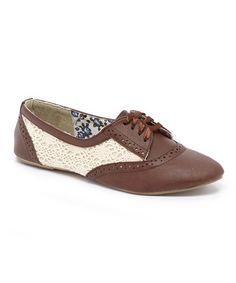 Another great find on #zulily! Brown & Cream Zoe Oxford #zulilyfinds