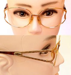 41253a202c5b 80s Vintage Christian Dior 2842 Gold Plated Oversize Eye Frames Cd Eyewear  Shell Frame