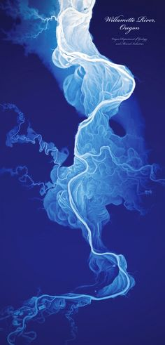 The poster by Daniel E. Coe shows the life-like historical flows of the Willamette River in Oregon.