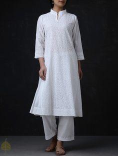 Buy White Chikankari Cotton Kurta by Jaypore Women Kurtas Online at Jaypore.com