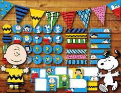 Printable Snoopy Birthday Party Decoration / Peanuts Charlie Brown Birthday Party Decoration Instant Digital Download with Banner / Bunting by CEVADesigns on Etsy https://www.etsy.com/listing/211251280/printable-snoopy-birthday-party