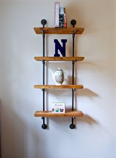 Industrial Pipe Shelving Unit with Reclaimed by DynastiMillworks