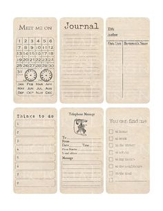 Organizing Printable Journaling Cards Shabby by VectoriaDesigns, $3.65