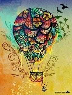 Ilustração: balloOn ~ De duas, uma   Design, Ilustrações e Tattoos - (www.deduasuma.com)