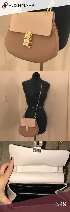 Faux Leather Clasp Front Chain Crossbody Beautiful two-tone taupe faux-leather with gold hardware. Gold chain Crossbody knots to purse. Never been used. Beautiful condition. Expandable depth. Bags Crossbody Bags