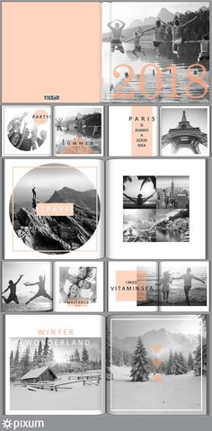Collect your best memories of the year in your Pixum photo book. Our stylish template lets your creation shine in a modern sheen. Black and white combined with color accents give your Pixum photo book a very special look. Buch Design, Foto Blog, Book Layout, Album Design, Photo Layouts, Wedding Album, Layout Inspiration, Portfolio, Best Memories