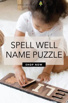 Educational wooden toys for toddlers make excellent birthday gifts children! Personalized name puzzles teach children how to spell their names, all while having fun, too. Wooden Toys For Toddlers, Toddler Toys, Puzzle Shop, Name Puzzle, Wooden Names, Birthday Gifts For Kids, Childrens Gifts, Teaching Kids, Spelling