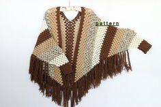 Crochet patrones de Poncho manga, poncho Cabo patrón, patrón de chal, poncho de rayas,