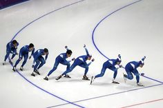 The South Korea men's short track speed skating team train at Gangneung Ice Arena on February 7, 2018.
