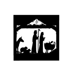 Christmas Decal Nativity Silouette for Glass Block Light, Tiles, Plaques, Signs, or Wall - Vinyl Decal ONLY
