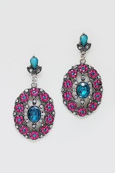 Crystal Rosette Earrings in Fuchsia on Emma Stine Limited