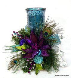 Peacock Christmas floral Arrangement by cabincovecreations on Etsy