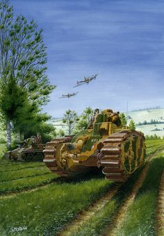 Two French tanks of the Battle of France in 1940, a Hotchkiss H-39 and a B-1 bis.
