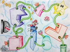 Mario | Winding One-Point Perspective Project | Colored pencil on drawing paper | High School Art Lesson Plan | Art Project (This is an example I created for a project I assigned to my 9th grade art students)