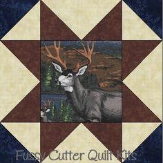 Wilderness Animals Bear Deer Hunting Fabric Easy Pre-Cut Quilt Blocks Kit