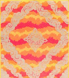 """Today, I am sharing a free quilt patternthat uses fabric from my latest collection, Drawn. It is actually more of a technique….but doesn't """"free pattern"""" sound so much better? This quilt, Scrollburst, is made using a reverse appliqué technique. This definitely isn't something I came up with, but I sure do enjoy doing it. It's striking and the basic technique is really easy. In fact, Cloe and I included this technique in our kids quilting book, """"Get Quilting with Angela and Cloe"""" Supplies…"""