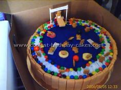 Pool party cake...using vanilla waffle biscuits