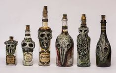 Creepy Bottles 4 Halloween by FraterOrion on DeviantArt Potion Bottle, Diy Bottle, Bottle Art, Bottle Crafts, Halloween Apothecary, Halloween Bottles, Halloween Crafts, Halloween Parties, Clay Monsters