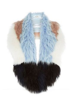 River Island £28   Faux Fur: Faux fur accessories have had a multi coloured make over for this winter. The fluffy, patchwork collars and scarves will rework last years coat in seconds whilst keeping you snuggly.