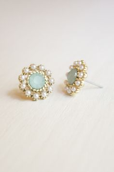 Stone and Pearl Post Earrings in Mint Blue. Wedding earrings I want to order.