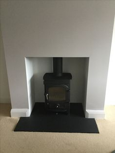 Newly built chimney breast Gas Wood Burner, Wood Burner Fireplace, Slate Fireplace, Log Burner, Fireplace Mantels, Fireplace Ideas, Living Room Designs, Living Room Decor, Tiled Hallway