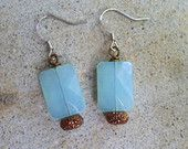 Czech Aquamarine Glass Earrings, Blue Dainty Dangle, Colorblock Earrings, Blue and Gold Earrings, Vintage Bead Earrings