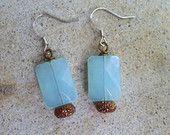 Czech Aquamarine Glass Earrings, Blue Dainty Dangle, Colorblock Earrings, Blue and Gold Earrings, Vintage Bead Earrings