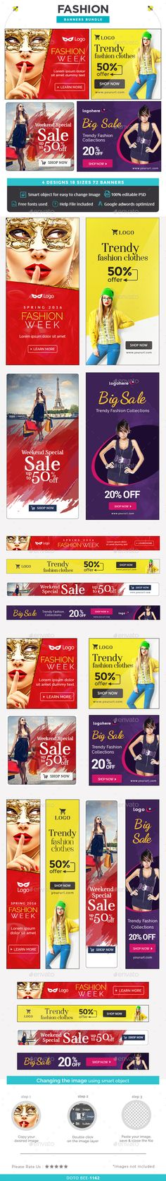 Fashion Web Banners Bundle - 4 Sets Template PSD. Download here…