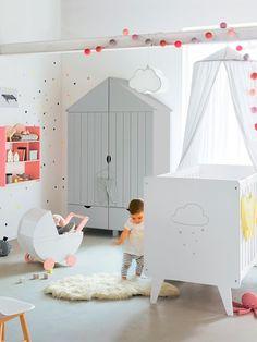 Armoire 2 portes Holidays XL Blanc+Gris 5 - vertbaudet enfant