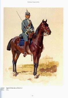Prusse :1° régiment de chasseurs à cheval (royal) German;1st Konig's Jager zu Pferde(Mounted Rifles), Lieutenant, c.1910. Raised 1901. Home Depot Posen. V Army Corps.