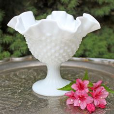 Fenton Milk Glass Footed Bowl. Fenton by AnythingDiscovered $36