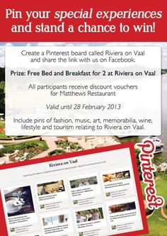 #Rivieraonvaal's Pinterest Competition - stand a chance to win a #BedandBreakfast for two at the #Rivieraonvaal Hotel & Country Club www.rivieraonvaal.co.za Discount Vouchers, Holiday Time, Bed And Breakfast, Competition, Club, Country, Reading, Books, Breakfast In Bed