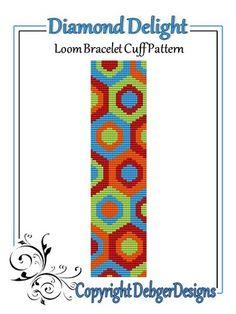 Diamond Delight - Loom Bracelet Cuff Pattern   DebgerDesigns - Patterns on ArtFire