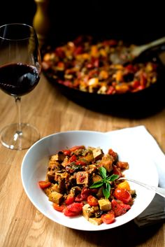 Eggplant Ratatouille, smothered and covered in a garlicky, red wine sauce with lots of fresh basil.