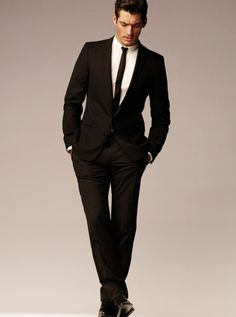 Black Suit, Skinny Tie: modern. sharp. sexy. winner. wedding suit? love!