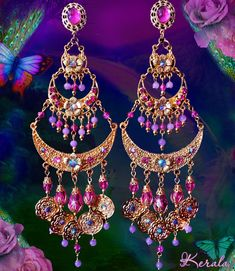 Exotic Gold and Pink Indian Princess Bridal Earrings, 7 Inch Long Hot Pink Crystal Earrings, Fantasy Jewelry, Large Gold Coin Gypsy Earrings Bridal Earrings, Bead Earrings, Chandelier Earrings, Crystal Earrings, Bridal Jewelry, Onyx Necklace, Gypsy Jewelry, Fantasy Jewelry, Indian Jewelry