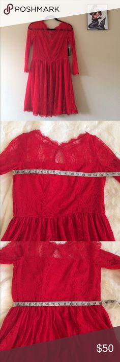 Juicy Couture Red Lace Dress Notice❗️This dress is NWT but zipper is broken. Could be easy to fix but never got around to it. Juicy Couture Dresses